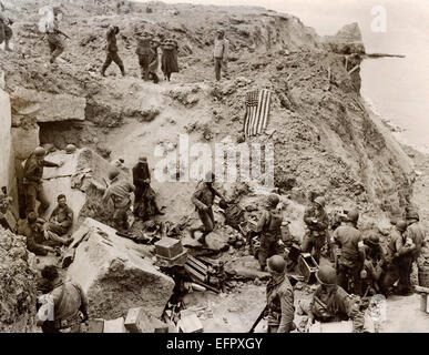 German soldiers are captured following the assault on the cliffs of Pointe du Hoc by U.S. Army Rangers during the - Stock Photo