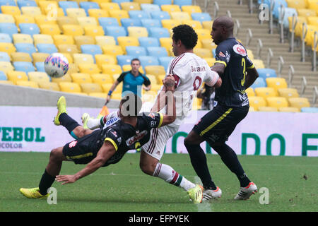 Rio de Janeiro, Brazil. 8th February, 2015. Fred, foward of Fluminense, during the match with Bangu FC on Sunday - Stock Photo