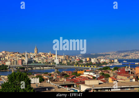 View of Beyoglu district and Galata tower (1348), Bosphorus, Istanbul, Turkey - Stock Photo