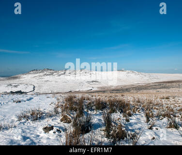 Roughtor or Rough Tor in the snow, Bodmin moor, North Cornwall. - Stock Photo
