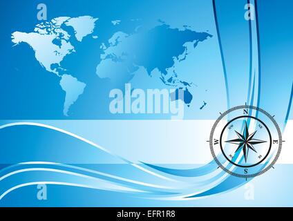 Blue background with compass and world map, vector illustration - Stock Photo