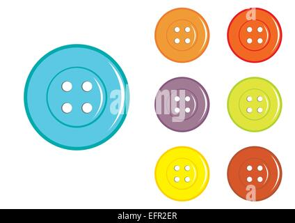 Vector Sewing Buttons in various colors - Stock Photo