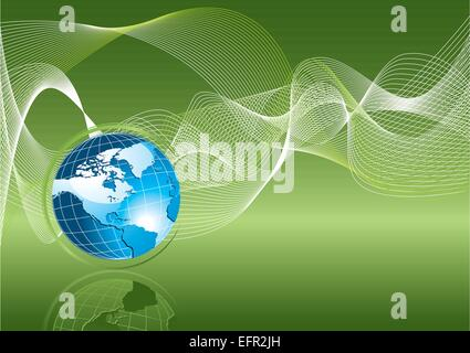 Blue earth on green background, ecology concept - vector illustration - Stock Photo