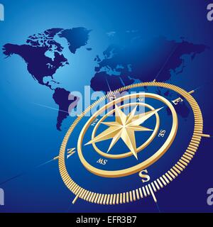 Gold compass with world map background, vector illustration - Stock Photo