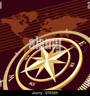 Gold compass, vector background - Stock Photo
