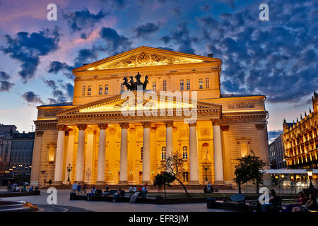 The Bolshoi Theatre building illuminated at dusk. Moscow, Russia. - Stock Photo