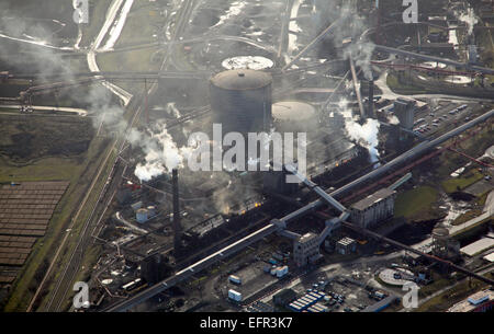 aerial view of the British Steel Tata Steel factory plant in Scunthorpe, UK - Stock Photo