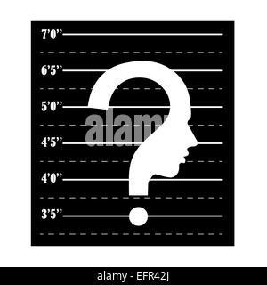 Mugshot question mark human head symbol - Stock Photo