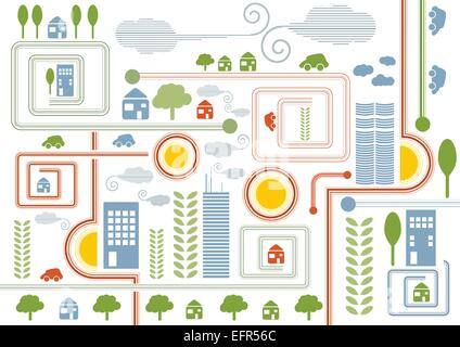 City map retro illustration with colorful icons of cars, trees and buildings, vector illustration - Stock Photo