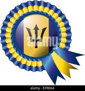 Barbados detailed silk rosette flag, eps10 vector illustration - Stock Photo