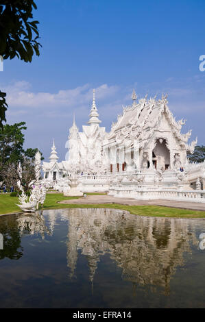 Vertical view of Wat Rong Khun, the White Temple, in Chiang Rai. - Stock Photo