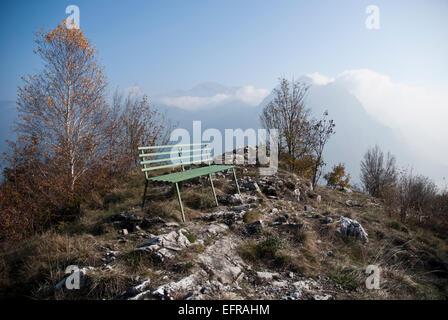 Mountain top outlook, Lake Iseo, Italy - Stock Photo