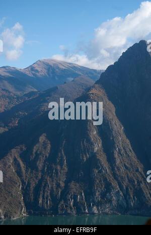Mountain range at Lake Iseo - Stock Photo