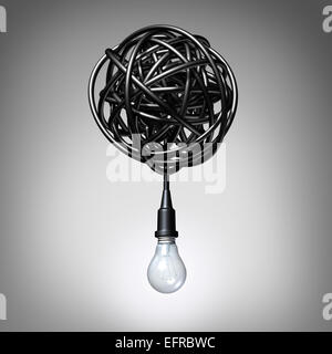Creative advice concept as a lightbulb or light bulb hanging down from a tangled chaos of twisted electric cord - Stock Photo
