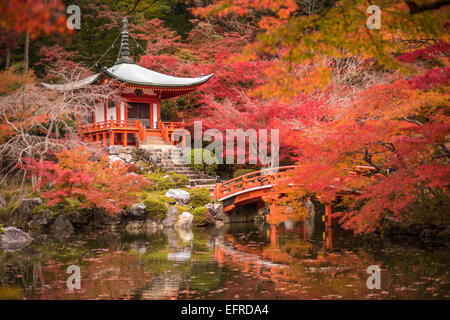 Daigoji temple in maple trees, momiji season, Kyoto, Japan Stock Photo