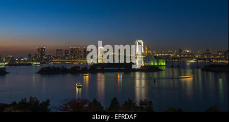 Panorama of Rainbow bridge and Tokyo bay, Japan - Stock Photo