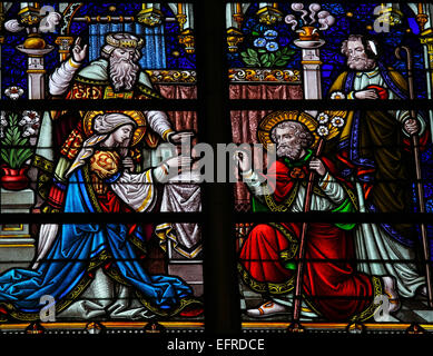 Stained Glass window depicting the Wedding of Joseph and Mother Mary, in the Cathedral of Saint Rumbold in Mechelen, - Stock Photo