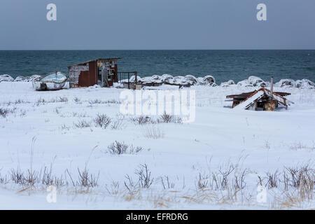 Hut Buried in Snow, Hokkaido, Japan - Stock Photo