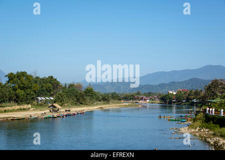 View over Nam Song river, Vang Vieng, Laos. - Stock Photo