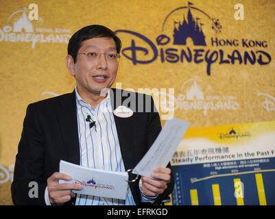 Hong Kong, China. 9th Feb, 2015. Andrew Kam, managing director of the Hong Kong Disneyland, speaks at a news conference in Hong Kong, south China, Feb. 9, 2015. The total revenue of the Hong Kong Disneyland in 2014 stood at 5.466 billion Hong Kong dollars (705.29 million U.S. dollars), growing by 12 percent year on year, while the net profit at 332 million Hong Kong dollars (42.84 million U.S. dollars), up 36 percent, according to its performance report of the 2014 fiscal year released on Monday. Credit:  He Jingjia/Xinhua/Alamy Live News Stock Photo