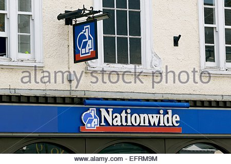 Looking up at the sign above the Olney Branch of Nationwide Building Society - Stock Photo