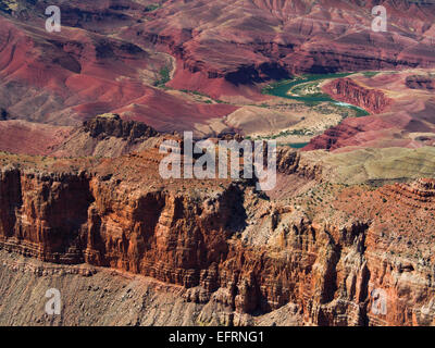 View from Pipe Creek Vista south rim Grand Canyon Arizona USA with view of the green Colorado River snaking through - Stock Photo