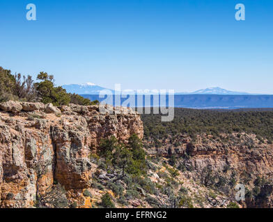View of the Grand Canyon from Pipe Creek Vista lookout on the south rim with the snow capped San Francisco Peaks - Stock Photo