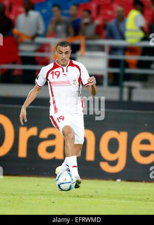 Ahmed Akashi of Tunisia in full flight against Democratic Republic of Congo during their AFCON match at the Estadio - Stock Photo