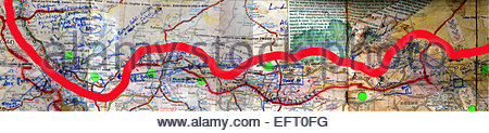 Map Showing The Route Taken By Explorer Kypros Year 2000 Republic Of Niger NER Western Africa Sahara Desert 2000 - Stock Photo