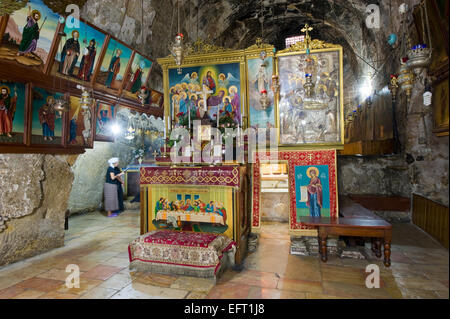 The entrance of the tomb of the Virgin Mary, the mother of Jesus at the foot of mount of olives - Stock Photo
