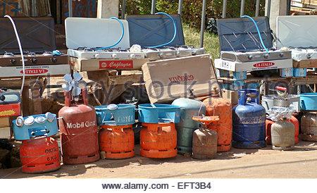 Cooking Gas Bottles LPG Containers For Sale Burkina Faso Burkina Faso Africa 2007 Ouagadougou Capital City Nobody - Stock Photo