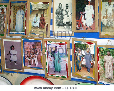 Family Photographs On The Wall Inside African Hut Burkina Faso Africa 2007 Nobody Architecture And Buildings Homes - Stock Photo