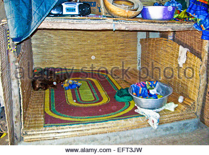 Double Bed Bedroom To Share With One Of The Four Wives Inside African Hutburkina Faso Burkina Faso Africa 2007 Nobody - Stock Photo