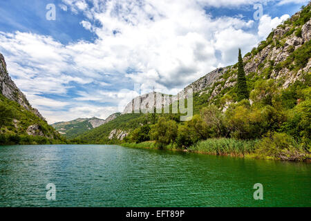 Cetina river canyon is a place of beautiful landscapes. Omis, Croatia. - Stock Photo