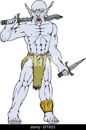 Cartoon style illustration of an orc warrior with nose ring holding a sword and dagger viewed from front on isolated - Stock Photo
