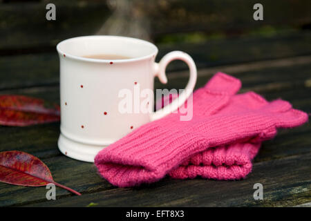 Steaming cup of tea with knitted gloves and autumn leaves on bench in garden on a cold winters day - Stock Photo