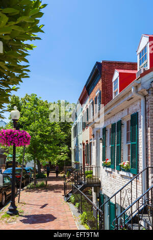 Houses on 30th St NW in downtown Georgetown, Washington DC, USA - Stock Photo