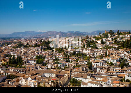 General view on the city of Granada, Spain and surroundings - Stock Photo