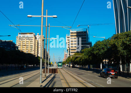 Carrer Narcis Roca street, Diagonal Mar, Sant Marti district, Barcelona Spain - Stock Photo