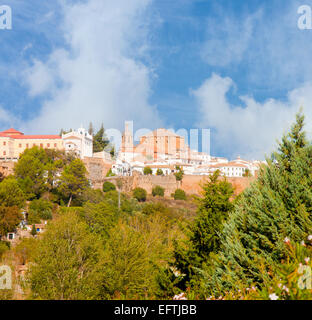 General view on the village of Ronda in Andalusia from below - Stock Photo