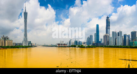 Guangzhou, China city skyline panorama over the Pearl River. - Stock Photo