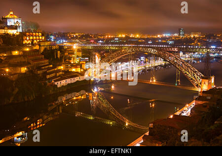 View from Porto to Gaia over the famous Dom Luis I bridge. Portugal - Stock Photo