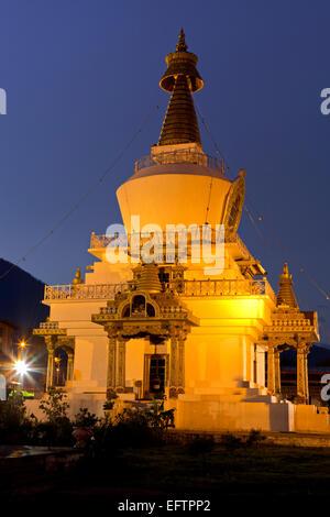 BU00077-00...BHUTAN - The National Memorial Chorten has lights on all night in the town of Thimphu. - Stock Photo