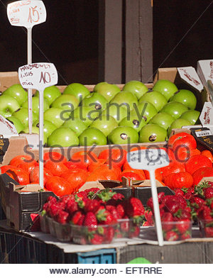 Prague Czech Republic Europe Nobody Shop Store Shopping Food And Drink Green Grocer Apples Fresh Fruits Tangerines - Stock Photo