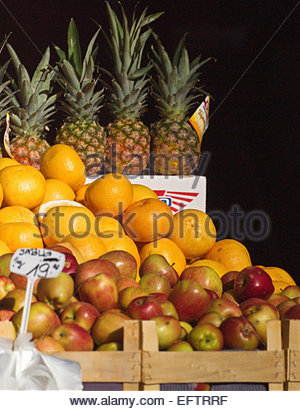 Prague Czech Republic Europe Nobody Shop Store Shopping Food And Drink Green Grocer Apples Fresh Fruits Pineapples - Stock Photo