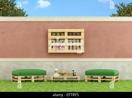 Garden with furniture made from old wooden pallet - 3D Rendering - Stock Photo