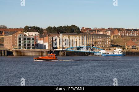 The river Tyne PIlot boat Collingwood seen passing North Shields ferry landing, north east England, UK - Stock Photo