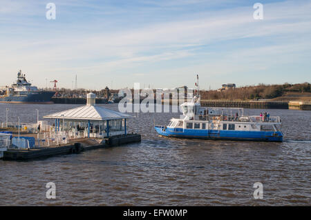 Tyne ferry Spirit of the Tyne  approaches South Shields ferry landing, north east England, UK - Stock Photo