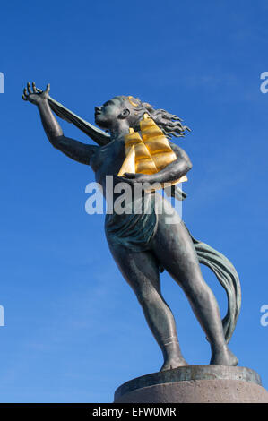 Bronze statue Spirit of South Shields, by Irene Brown, on South Shields quayside, north east England, UK - Stock Photo