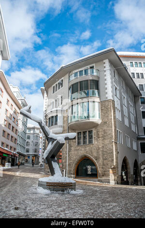Town center of St.Moritz, Grisons, Switzerland | Im Stadtzentrum von St.Moritz Dorf, Graubuenden, Schweiz - Stock Photo